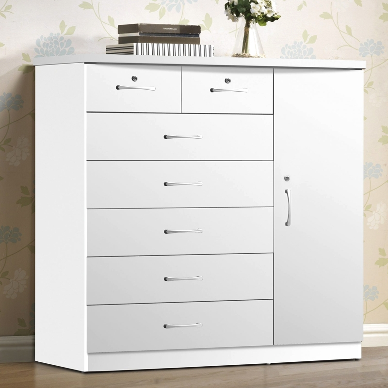 7 Drawer Chest with Closet White [FW-131]